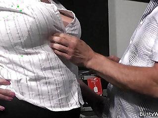Plumper in fishnets rides her older boss cock