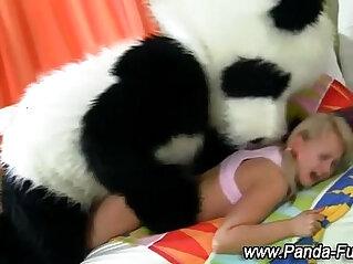 Plush panda and teen facial