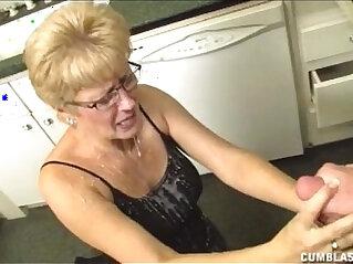 Short Haired Grandma Gets A Big Facial