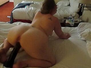 dildo - Hot PAWG riding a huge black dildo