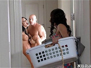 Guy with two hot and jealous wives horny threesome sex