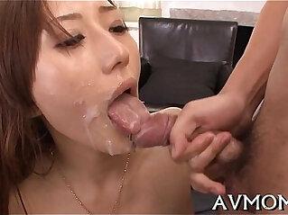 oriental - Lengthy hairy oriental deepthroat action