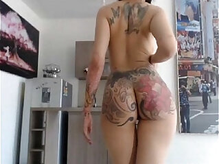 spanking - tattooed girl with piercing gets her ass spanked