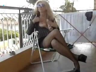 Italian milf on the balcony