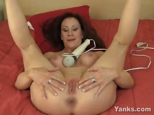 Busty amateur MILF Catherine Vibrating Her Pussy