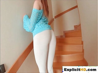 Brit redhead Samantha Bentley stretches ass with a glass dildo