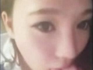 Chinese girlfriend gives amazing blowjob