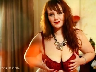 Katrin Porto Busty Redhead Plays With her Hairy Pussy