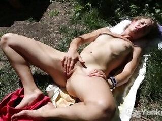 Slim Kara Masturbating Outdoors