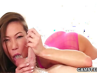 Asian sloppy deepthroat blowjob showing off her no gag reflex