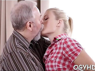 Young amateur girl blows old pecker