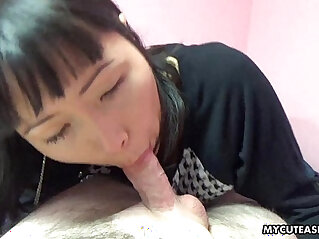 Adorable Asian sucking that veiny cock
