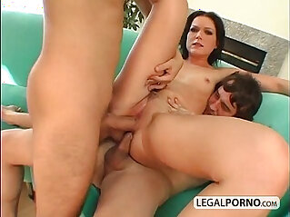 Hot brunette double penetrated by two big cocks HC
