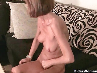 Skinny grandma massages her small tits rubs her tight shaved pussy