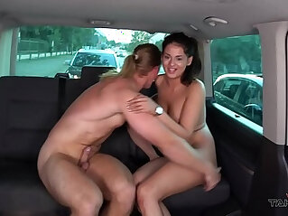 Hungarian slut take a ride with busty naughty stranger to get cum on ass hole