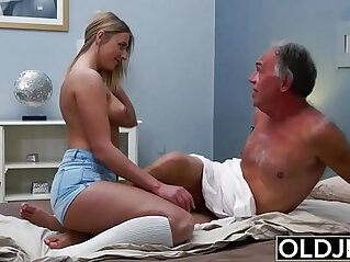 Blonde amateur Teen babe gets Fucked By Hairy Old Man she loves getting sex blowjobs and cum