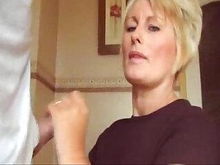 Blowjob blonde mom cummed shirt and fingers
