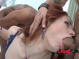 Redhead slut Violet Monroe rough fucking DP