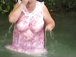 Voyeur Grannies in See Through Clothes Bathing in Public