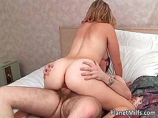 Hot blonde milf masturbating with sexy glasses sucks a nice cock