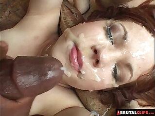 BrutalClips Baby faced slut drains three huge mamba black monster cocks
