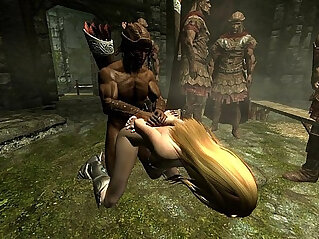 Skyrim Imperial soldiers gangbang a sexy Nord